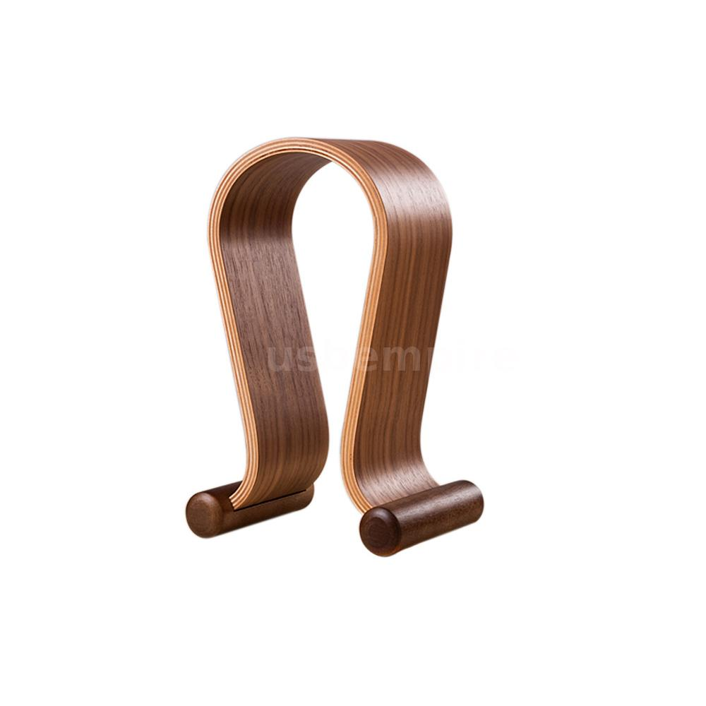New omega headphone gaming headset wooden walnut wood display stand hanger ebay - Wooden headphone holder ...