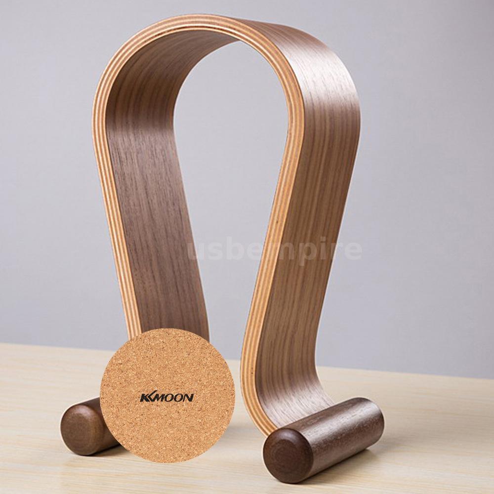 Wooden walnut wood gaming headset earphone headphone stand hanger holder rack - Wooden headphone holder ...